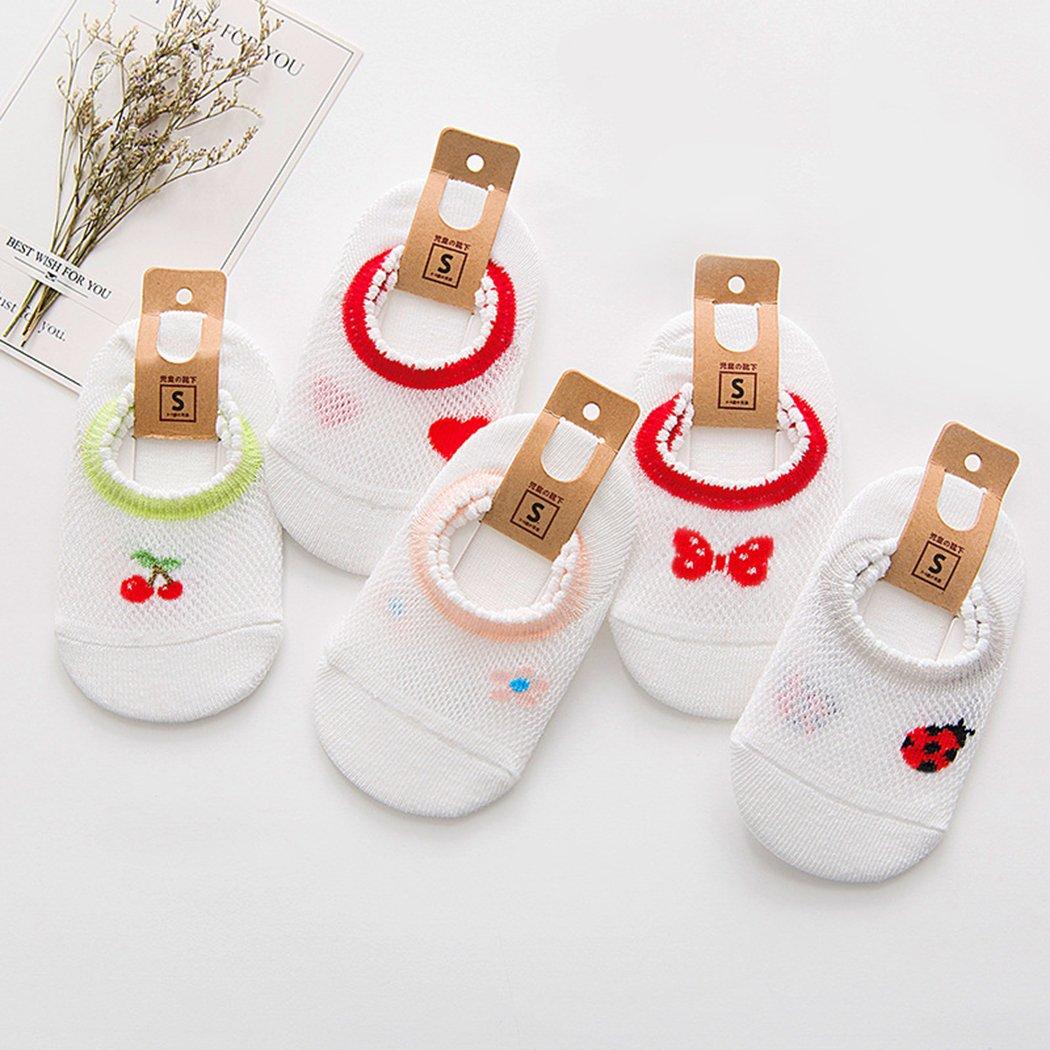 BHUTAN Breathable Baby-Girls//Baby Boys Socks,Newborn//Infant//Toddler//Little Girls//Boy Socks 5 Pack Summer L White Red
