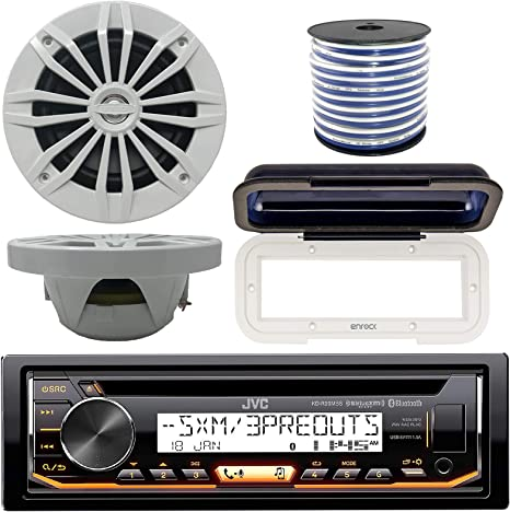 JVC In-Dash Marine Barco Bluetooth Radio USB CD Receptor Bundle, cubierta con par Enrock 6.5