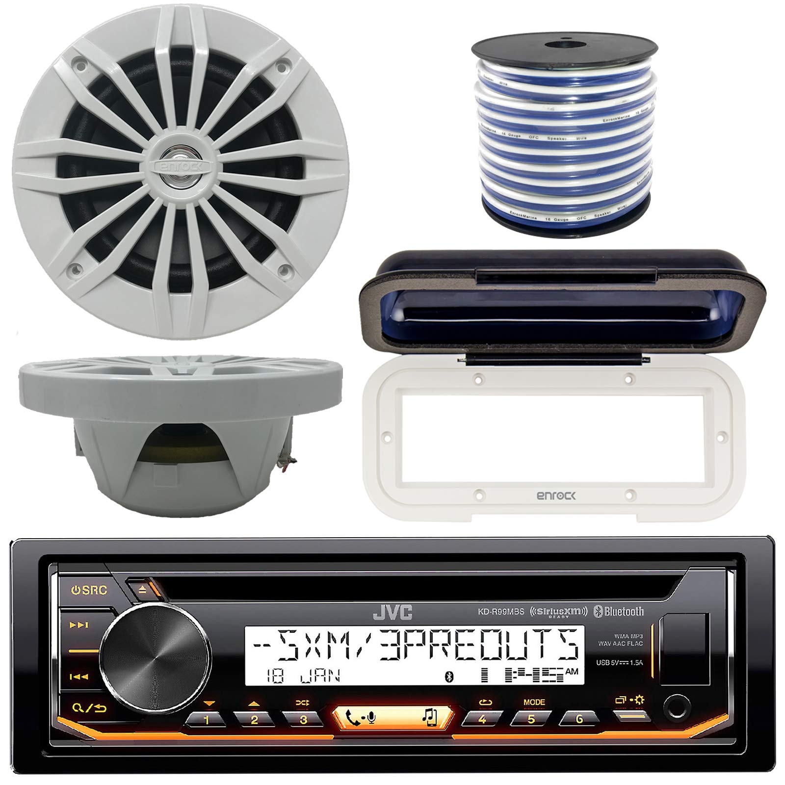 JVC In-Dash Marine Boat Bluetooth Radio USB CD Receiver Bundle, Cover with pair Enrock 6.5'' White Stereo Speakers, 18g 50ft Marine Speaker Wire by JVC
