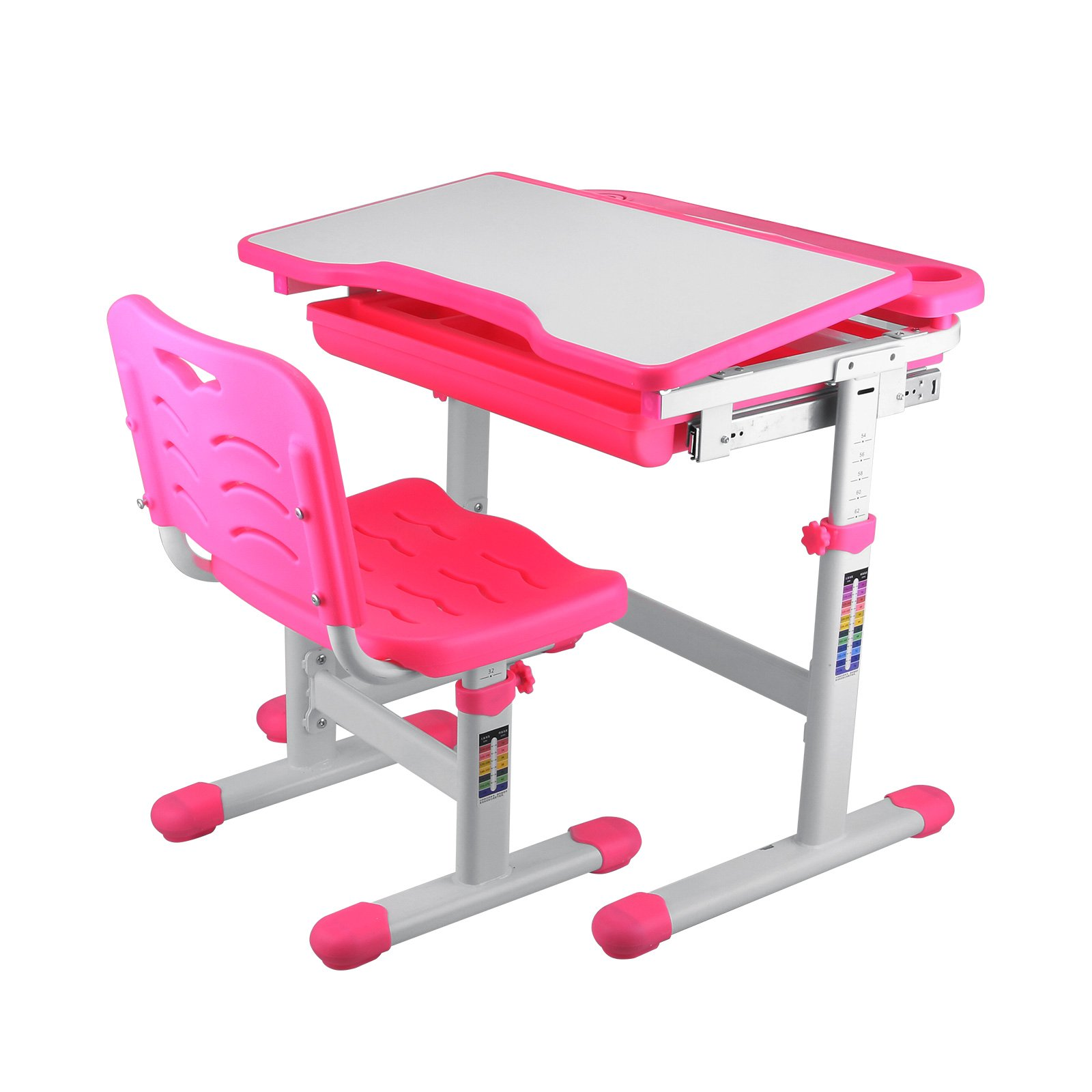 SucceBuy Height Adjustable Desk And Chair For Children Adjustable Desk And Chair Pink Kids Desk Interactive Work Station by SucceBuy