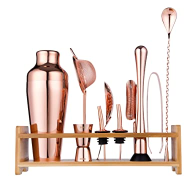 Jillmo Pro Martini Bartender Kit Copper Coated Rose Gold Stainless Steel Bar Set with Bamboo Stand - 19 oz Parisian Gold Cocktail Shaker with Bar Accessories …