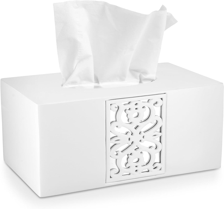 DWELLZA Decorative White Finally popular brand Tissue Box x Overseas parallel import regular item Cover Rectangular 10.25