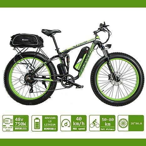 eléctrica Bicicleta para hombres Extrbici 750W 48V 26 pulgadas Bicicleta de montaña para adultos Nieve VTC Neumático grande Tres modos de conducción XF800 (Verde): Amazon.es: Deportes y aire libre