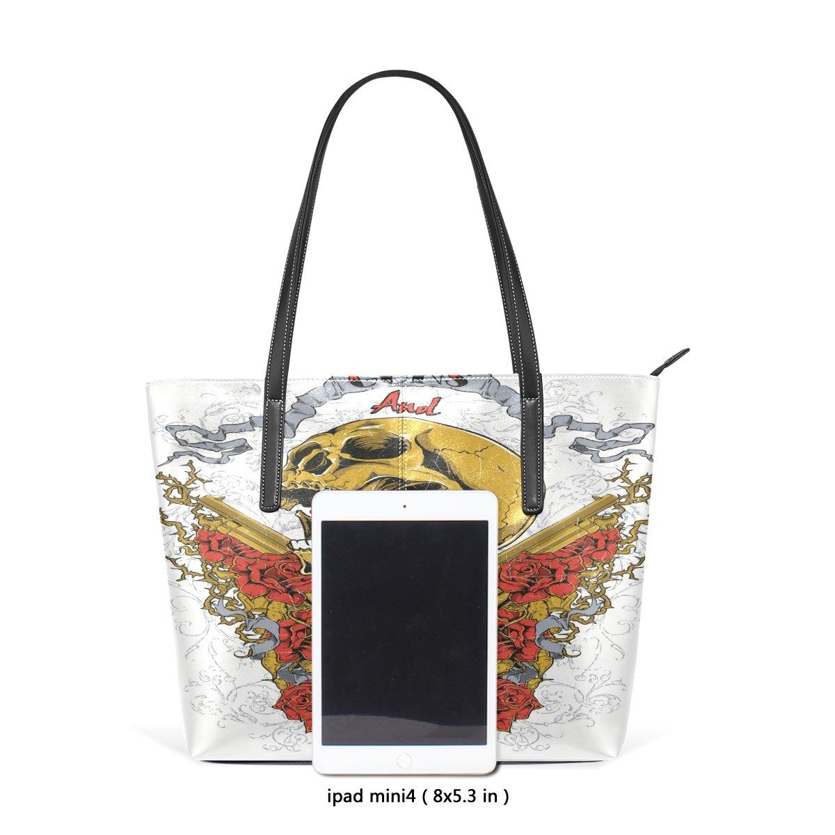 Womens Leather Top Handle Shoulder Handbag Flower Skull Large Work Tote Bag
