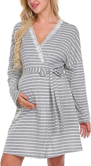 Yacun Vestido Maternidad Camisa De Lactancia De Manga Larga Ropa De Dormir para Mujer: Amazon.es: Ropa y accesorios