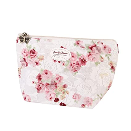 4218dd36f Amazon.com: KFSO Cosmetic Bag,Floral Portable Travel Mini Bag Zipper Makeup  Case Pouch Toiletry Wash Organizer (White): Arts, Crafts & Sewing