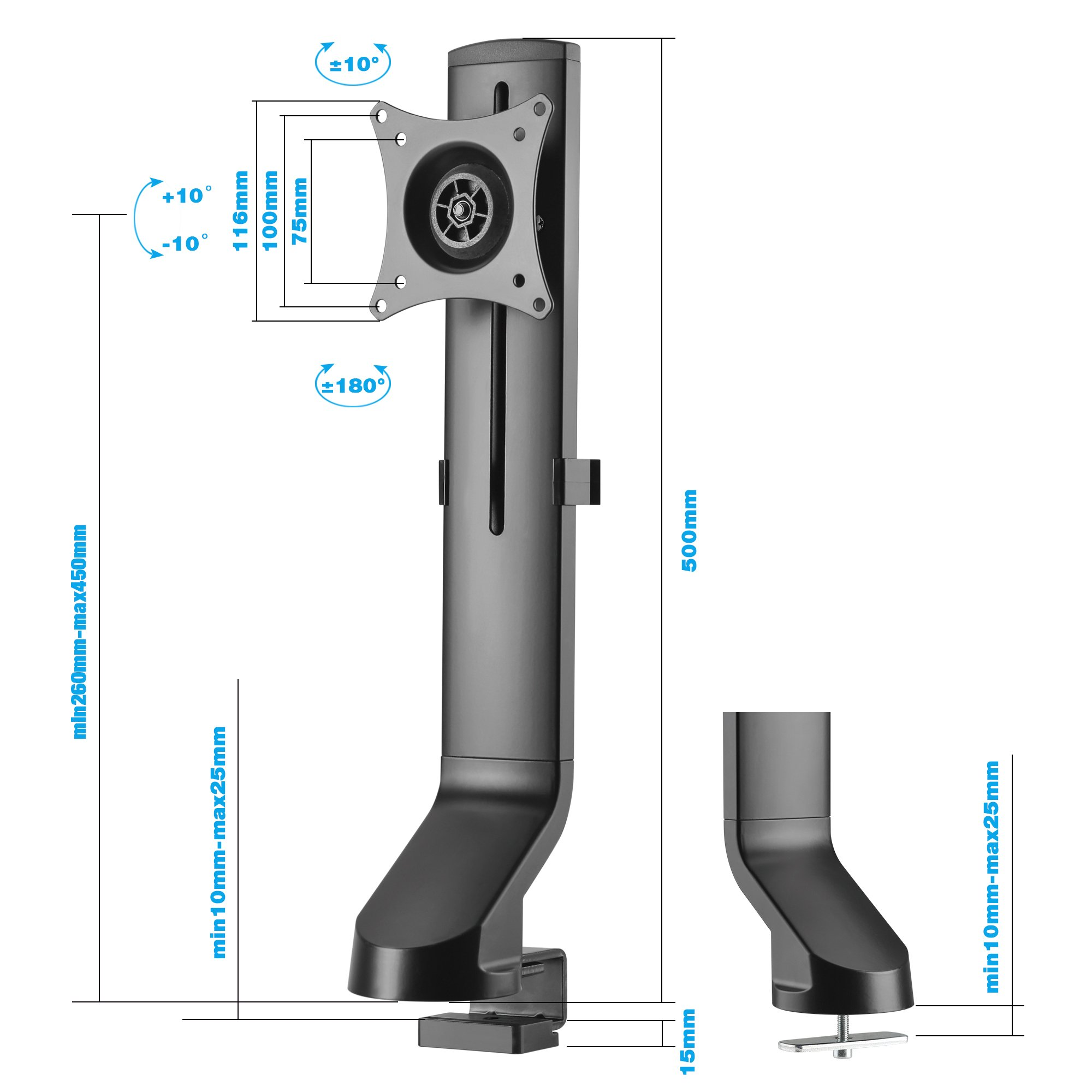 AVLT-Power Single Monitor Mount for Standing Desk Workstation - Extra Height Adjustment Range - Heavy Duty - Holds 17'' to 32'' Screens, up to 17.6 lbs, VESA 75x75mm 100x100mm by AVLT-Power (Image #7)
