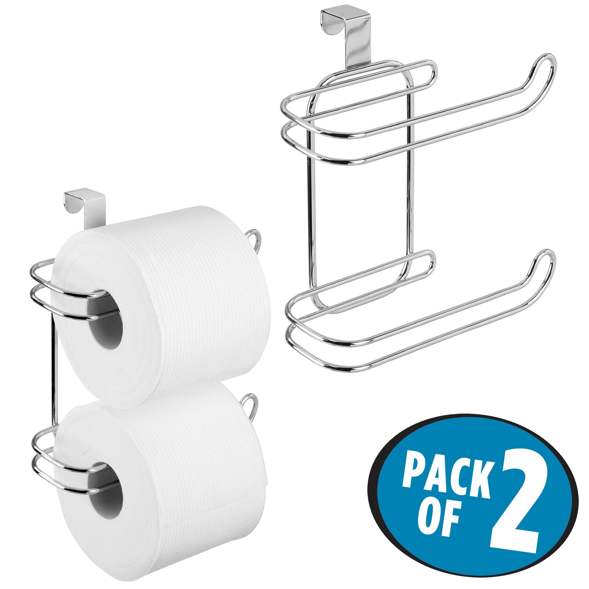 mDesign Compact Hanging Over the Tank Toilet Tissue Paper Roll Holder and Dispenser for Bathroom Storage - Holds 1 Extra Roll – Space Saving Design - Pack of 2, Durable Metal Wire in Chrome Finish