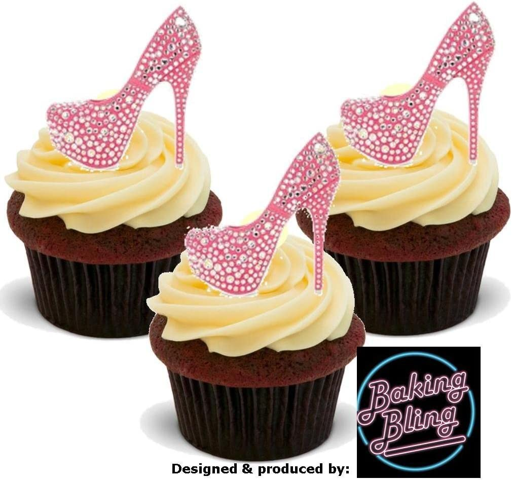 24 PRECUT Birthday Pink Party Girl Handbag Shoes Edible Wafer Paper Cake Toppers