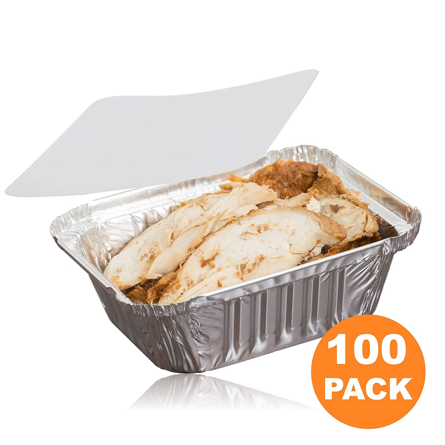 "[100 Pack] Rectangular 1 lb 16 oz Pint 6 x 5 x 2"" Disposable Aluminum Foil Pan Take Out Food Containers with Flat Board Lids, Hot Cold Freezer Oven Safe"