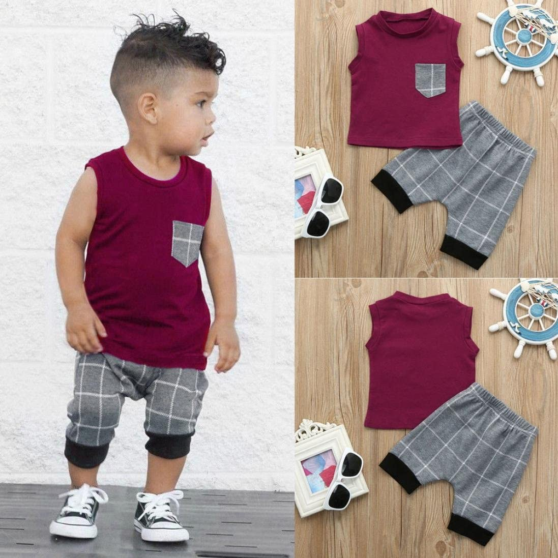 2Pcs Baby Boys Girl Clothes Sets Toddler Plaid Sleeveless Tops T Shirt Vest 3T, Wine Harem Pants Outfits