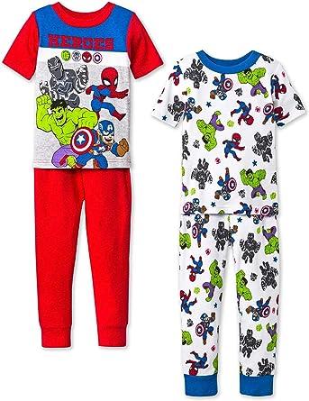 Marvel Super Hero Adventures - Juego de Pijama de 4 Piezas de algodón, diseño de Los Vengadores