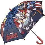 Paraguas Niño Marvel Los Vengadores - Paraguas Largo Avengers con Capitán América Iron Man y Thor - Resistente antiviento y Seguro con Apertura de Seguridad - Azul - 3/5 Años - Diám. 76 cm - Perletti