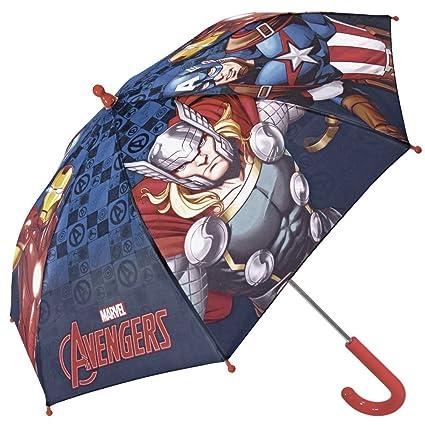 Paraguas Niño Marvel Los Vengadores - Paraguas Largo Avengers con Capitán América Iron Man y Thor - Resistente antiviento y Seguro con Apertura de ...