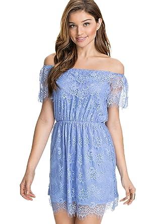 8582d3dec8b Image Unavailable. Image not available for. Color: Kaamastra Blue Lace Off-Shoulder  Mini Dress LC22181