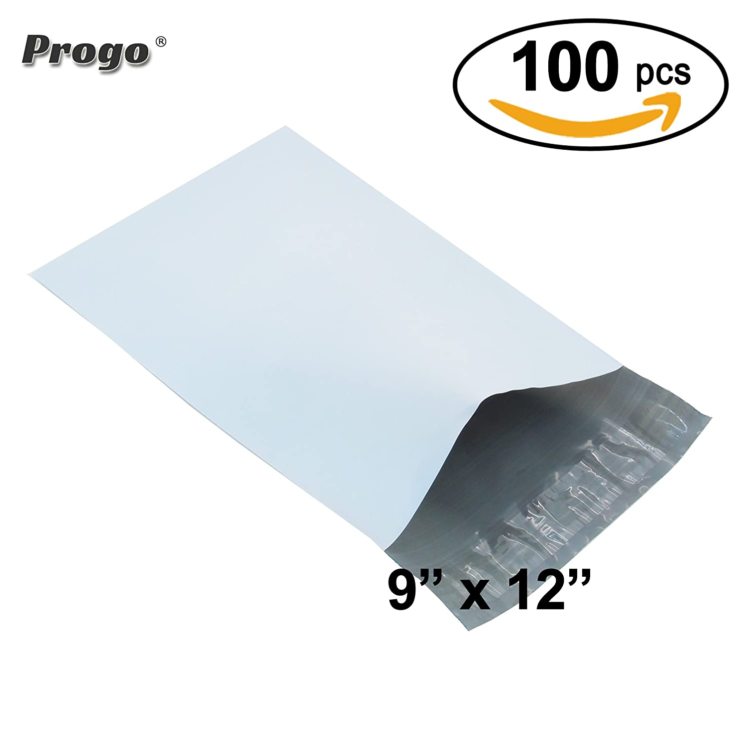 Progo 100 ct 9x12 Self-seal Poly Mailers. Tear-proof, Water-resistant and Postage-saving Lightweight Plastic Shipping Envelopes / Bags.