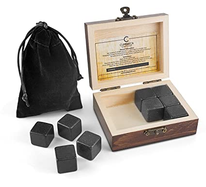 QYS Geschenkbox Whiskey Stones 9 PCS Wiederverwendbares EIS mit Edelstahlklemmen und Aufbewahrungstasche Ice Stones Getränke