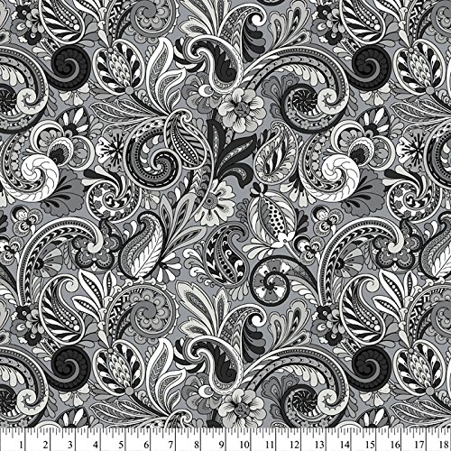 Floral Paisley Grays Cotton Fabric By The Yard