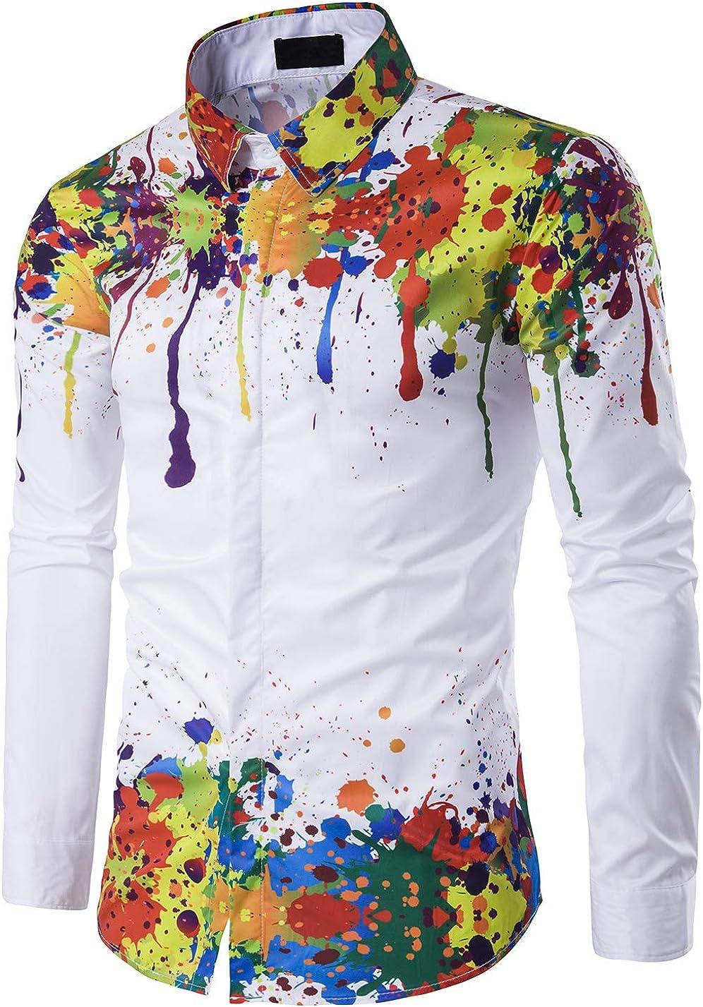 XTAPAN Mens Long Sleeve Casual Lapel Cardigan Printing Floral Linen Button Down Dress Shirt