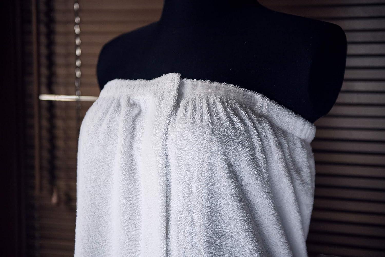 Tuva Home Par/éo de sauna pour femme avec bande /élastique cousue et fermeture Velcro 100 /% coton /éponge 350 g//m/²