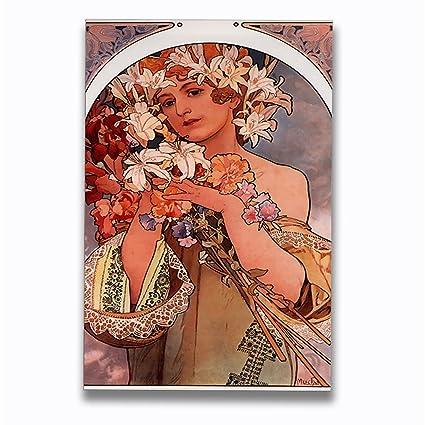 Amazon.com Flowers (A Mucha) Art Nouveau Poster Aluminum