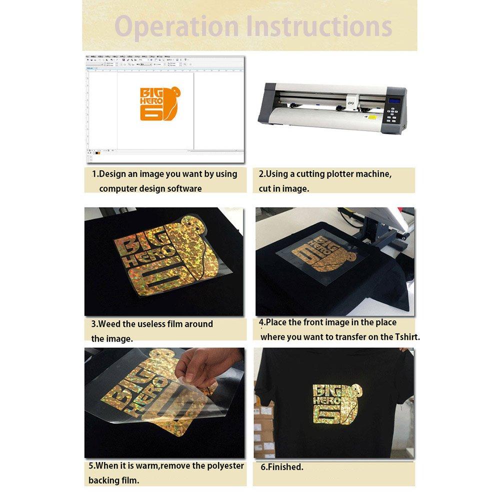 HOHOFILM - Vinilo holográfico de transferencia de calor, 21 cm x 30 cm, color plateado: Amazon.es: Industria, empresas y ciencia