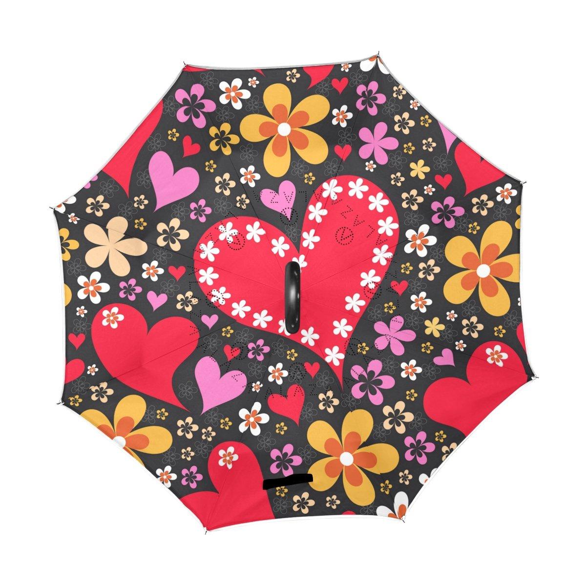 Alaza U Life Hippie Love誕生日バレンタインハートフローラル花逆Inverted Umbrellasリバーシブル太陽雨傘車屋外の使用C型のハンドル B07DFX487B