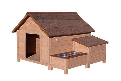 Sherbrook - Caseta tipo nicho para perro fabricada en madera con puerta, con comedero y