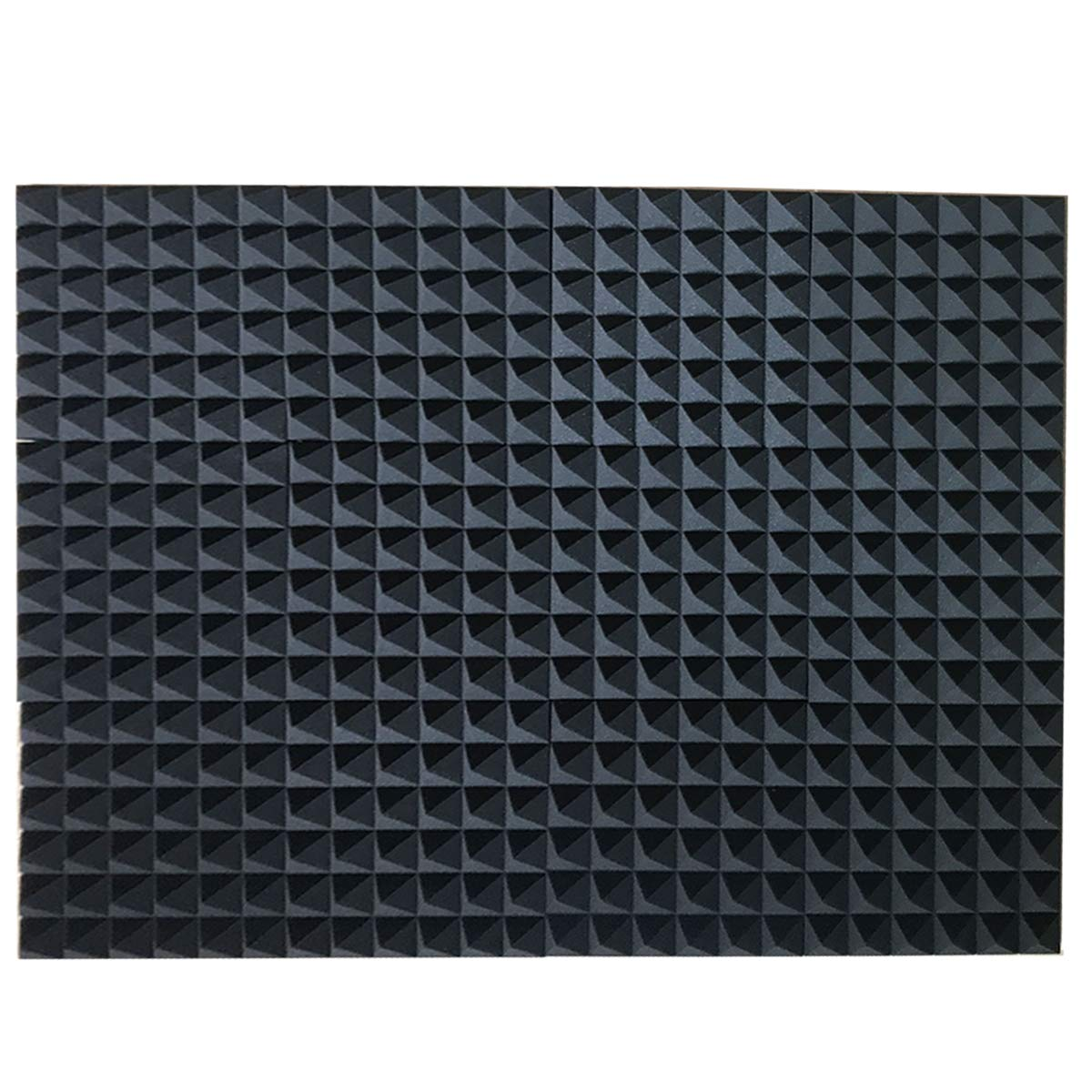 12 Pack Set Acoustic Foam Panels, Studio Wedge Tiles, Acoustic Foam Sound Absorption Pyramid Studio Treatment Wall Panels 2