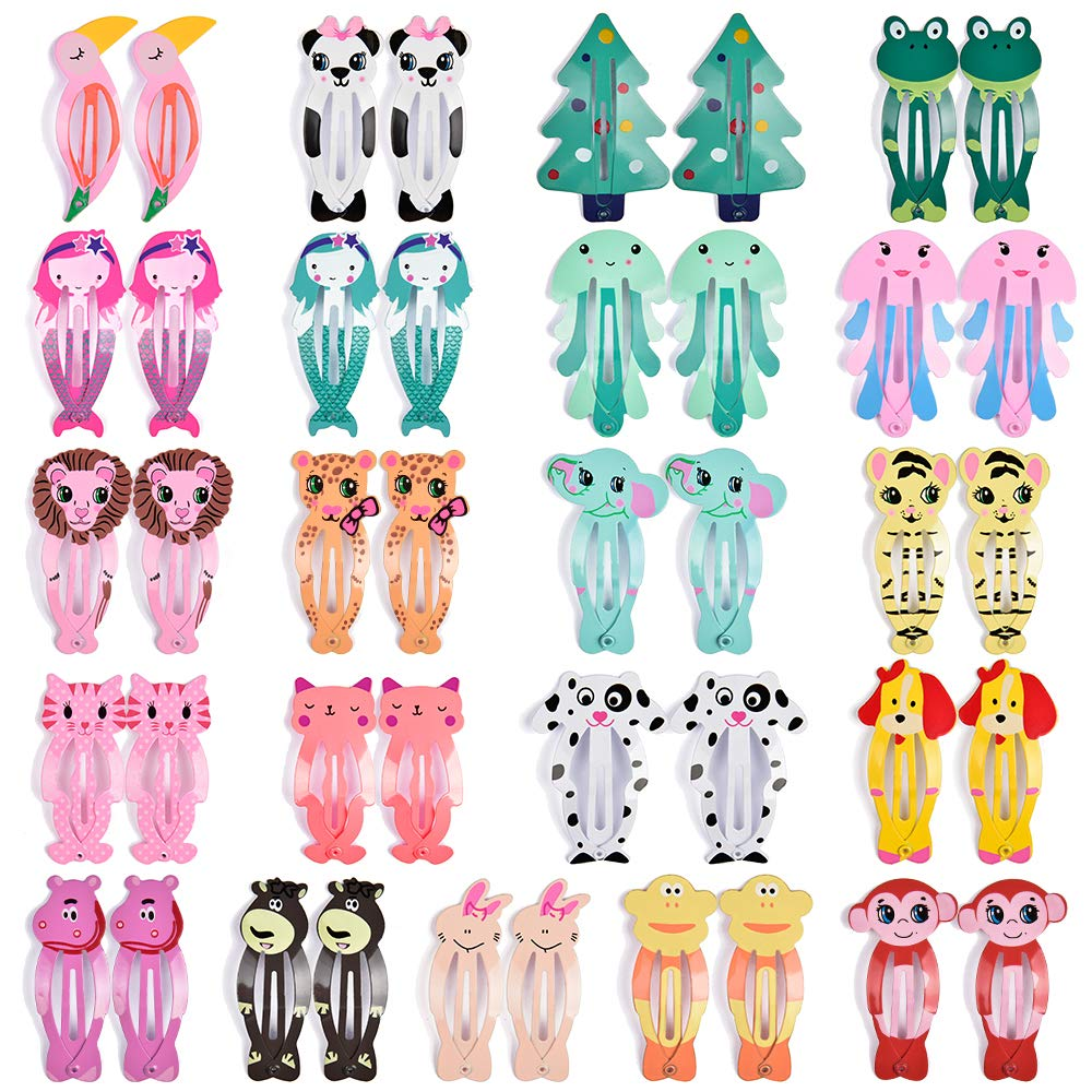 Hair Clips for Girl, IKOCO 42Pcs Snap Hair Clips Animal Pattern Barrettes Cartoon Design Snap Hair Barrettes for Toddler Girls
