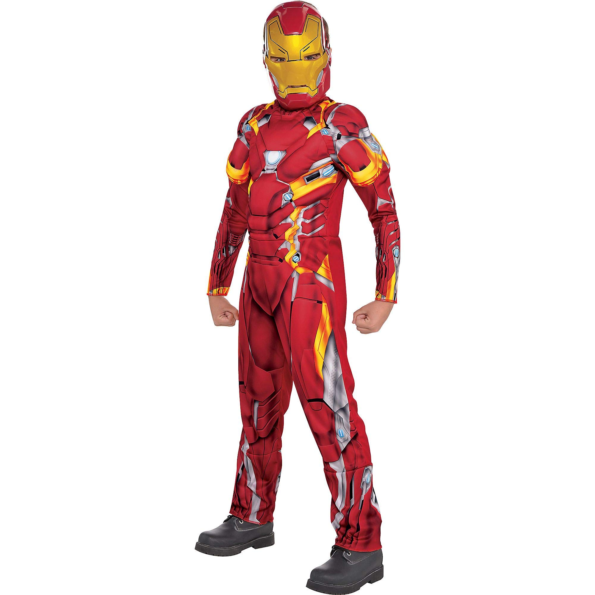 Costumes USA Captain America: Civil War Iron Man Muscle Costume for Boys, Size Small, Includes a Jumpsuit and a Mask