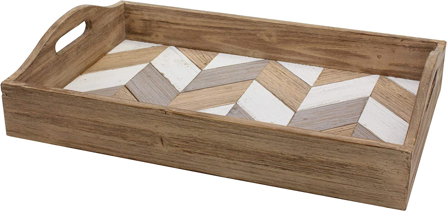 Stonebriar Chevron Rectangle Multicolor Wood Serving Tray with Handles, 18
