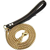Aiyidi Pet Dog Strong Leash Long 2FT 3FT 4FT 18K Gold Metal 12mm Curb Cuban Chain Dog Leashes with Comfortable Genuine Leathe