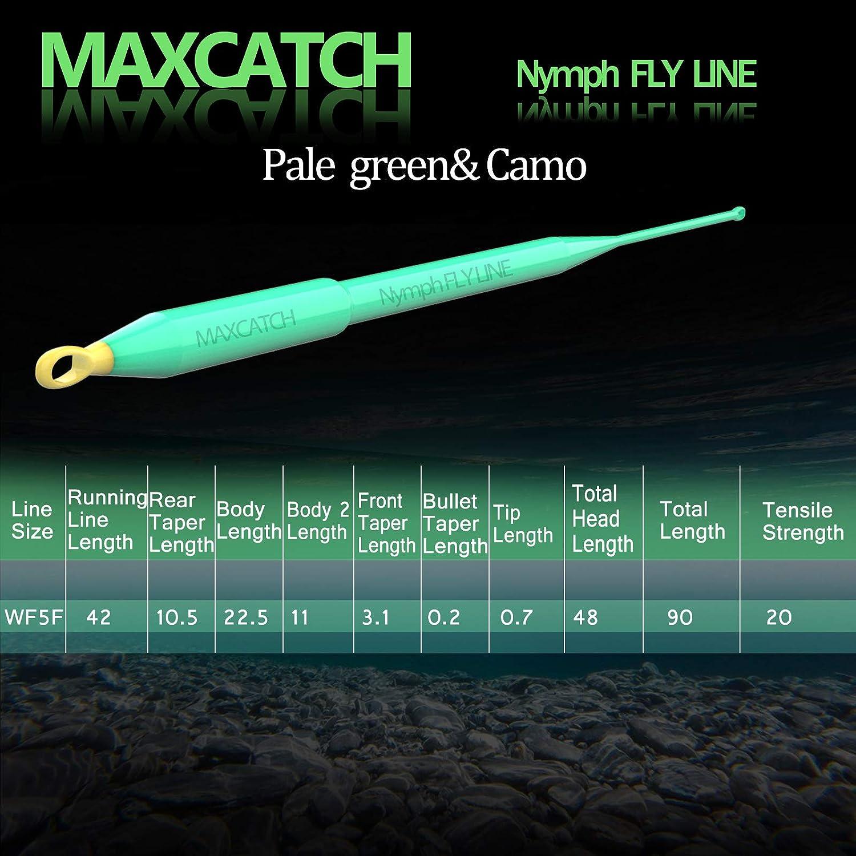 mit 2 Schlaufen schwimmende Schnur f/ür Euro-Nymph Fischen MAXIMUMCATCH Nymph Schnur WF2F-6F