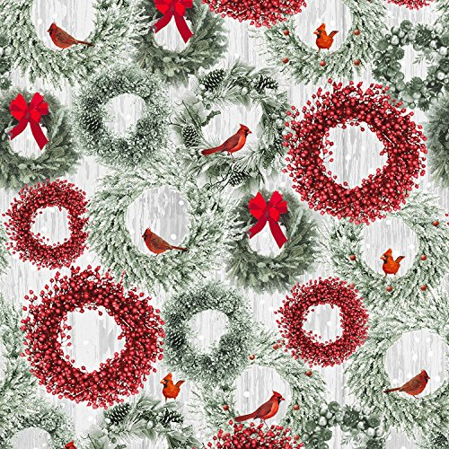 1 Yard Holiday Wishes Christmas by Jan Shade Beach from Henry Glass 100% Cotton Quilt Fabric 6931-66 Cardinals Wreaths (Cotton Quilt Holidays Fabric)