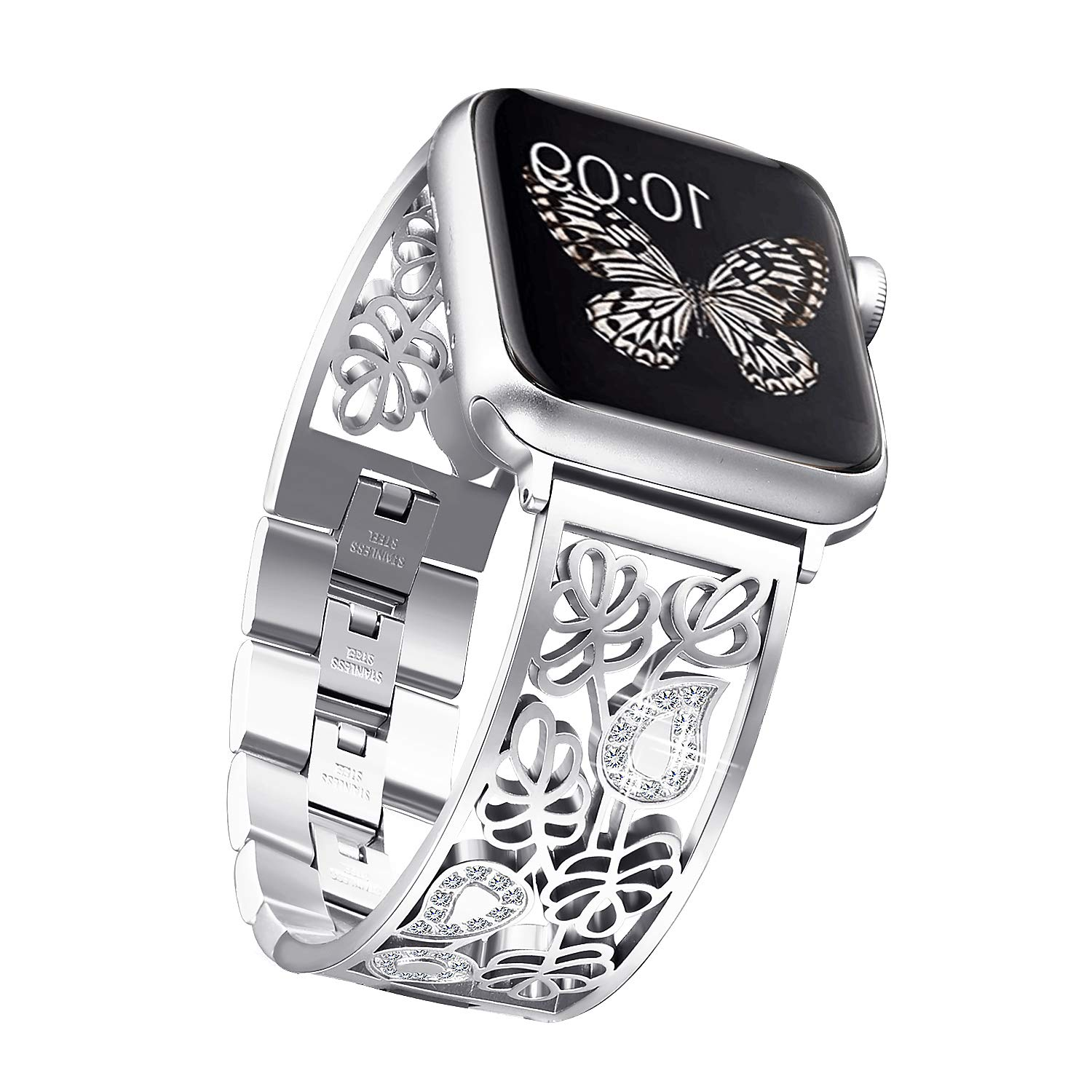Secbolt Carved Flower Bling Bands Compatible with Apple Watch Band 38mm 40mm iwatch Series 5/4/3/2/1, Stainless Steel Dressy Jewelry Diamond Bracelet Bangle Wristband Women, Silver by Secbolt