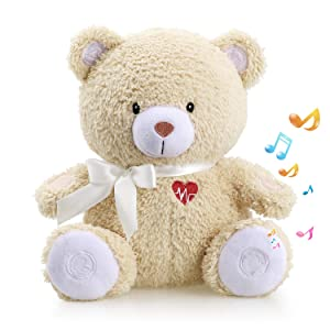 Honey Bear Baby Sleep Soother by BEREST- Mom¡¯s Heartbeat Sound White Noise Machine Infant Slumber Buddies Bear Toy Sleeping Aid, Nursery Decor with Baby Cry Sensor, Night Light, 4 Sounds Therapy