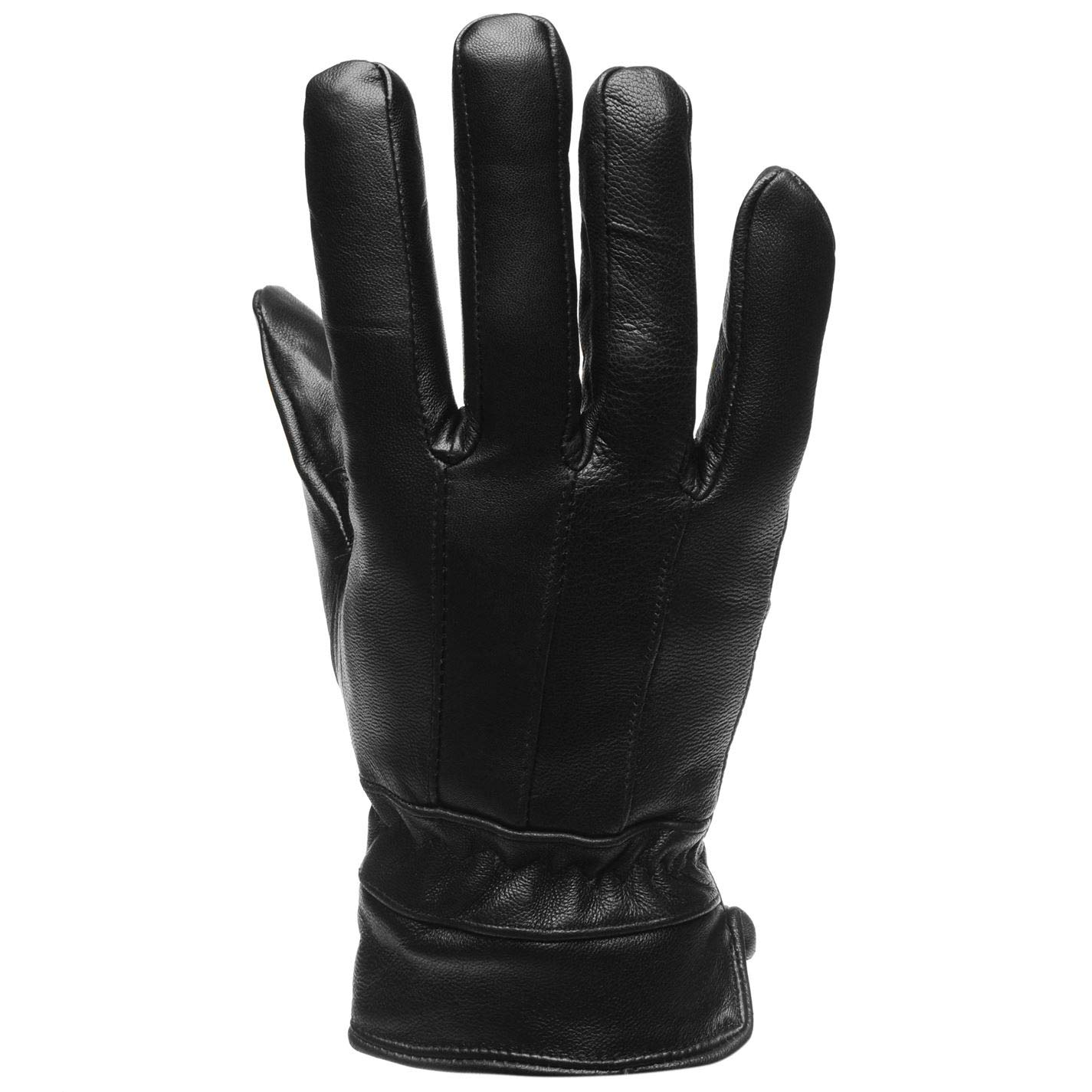 Firetrap Mens Leather Gloves Winter Warm Black S-M