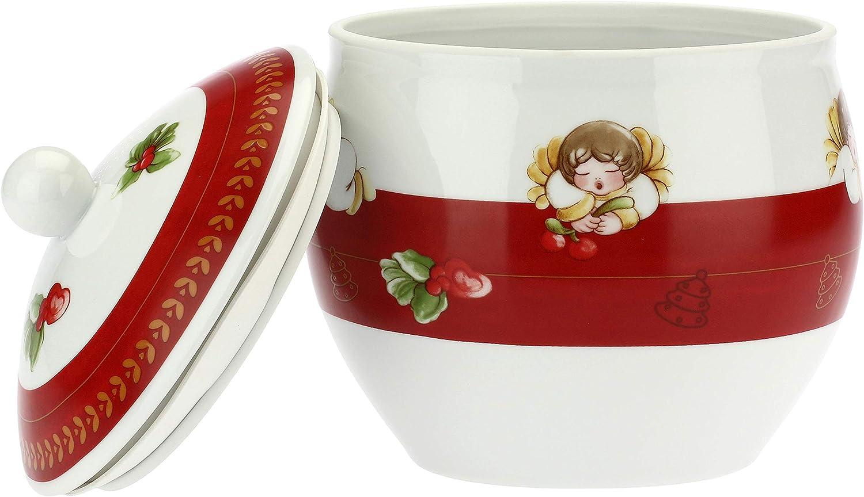 Biscottiera con Decorazioni Natalizie Linea Dolce Natale THUN /Ø 17,5 cm Accessori Cucina Porcellana