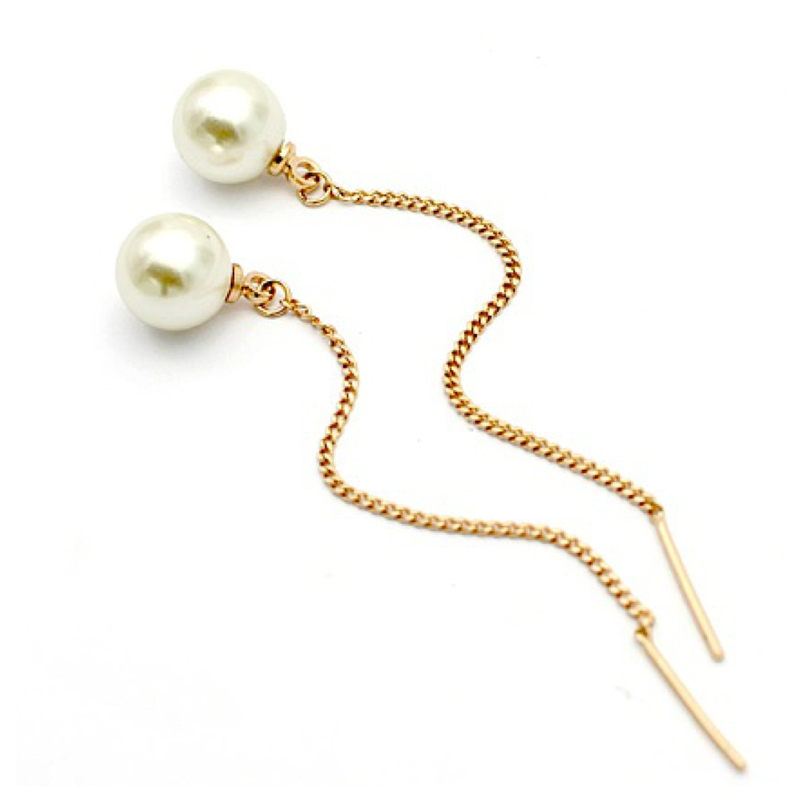 2018 MOTHERS DAY LOVE ROMANTIC GIFT 18K Gold Plated Long Gold White Simulated Pearl Drop Dangle Eco-Friendly Commfort Fit 69mm Stud Earrings for Women Ladies Girls (Gold)