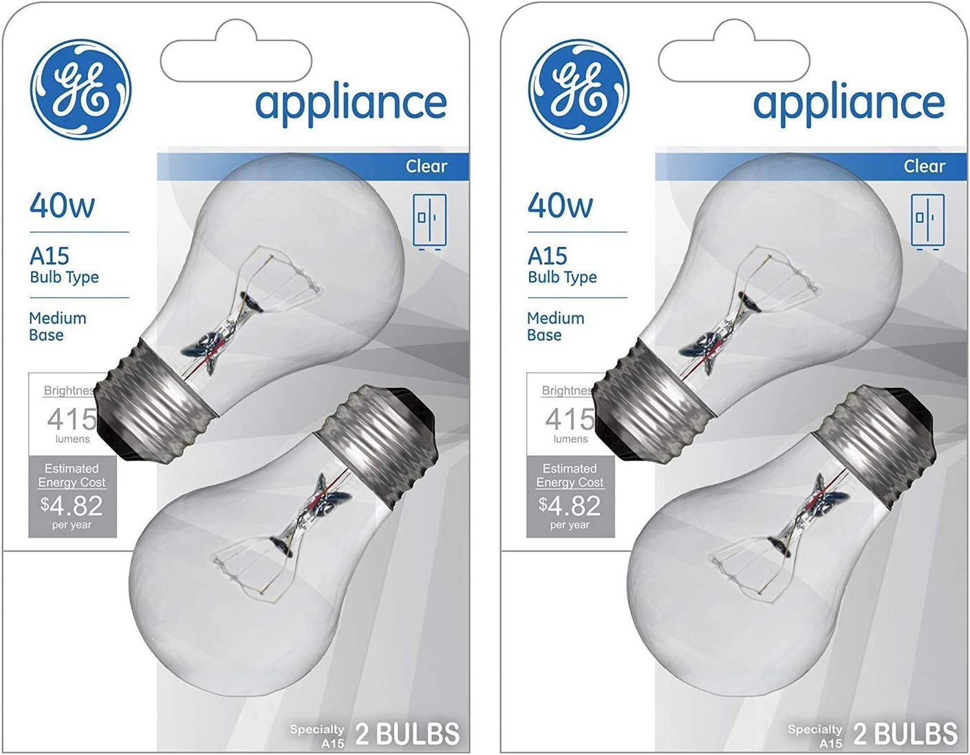 Medium Base 415 Lumens 2-Pack A15 Bulb Type GE Appliance Clear Light Bulb 40w 2-Count per Pack
