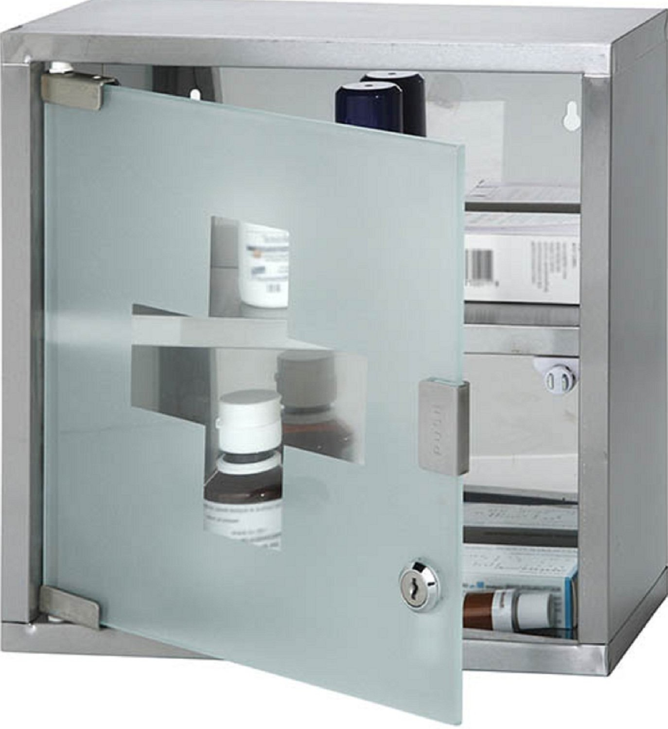Wall Mounted Lockable Stainless Steel Medicine Cabinet With 2 ...
