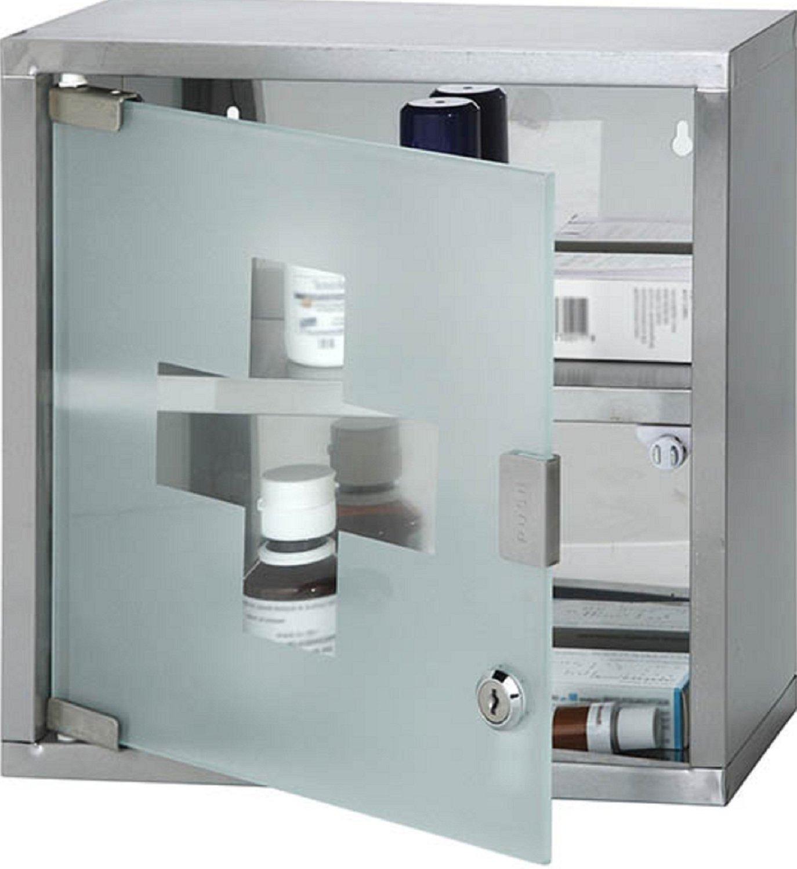 Montaggio a parete con serratura in acciaio INOX armadietto con 2mensole e anta in vetro satinato (ca. 30 x 12, 5 x 30cm. moderno Silver Fastcar