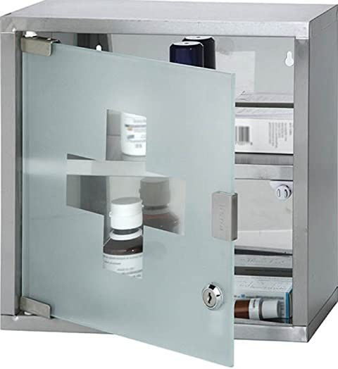 wall mounted lockable stainless steel medicine cabinet with 2 shelves u0026 frosted glass door approx