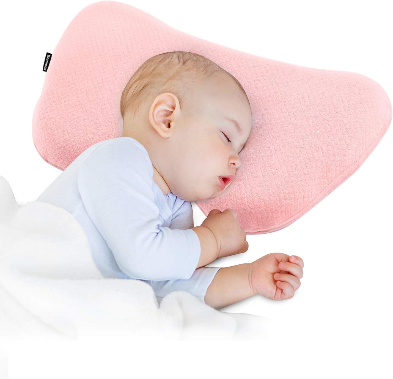 Bammax Almohada para Bebé, Almohada de Espuma para niños, Espuma de Memoria, Almohada para niños (Rosa)