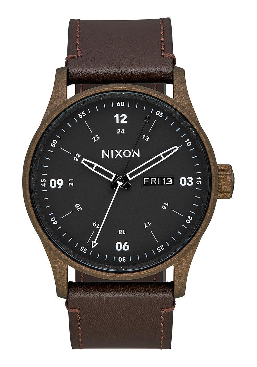 Nixon Sentry Leather Watch Bronze Cerakote Brown