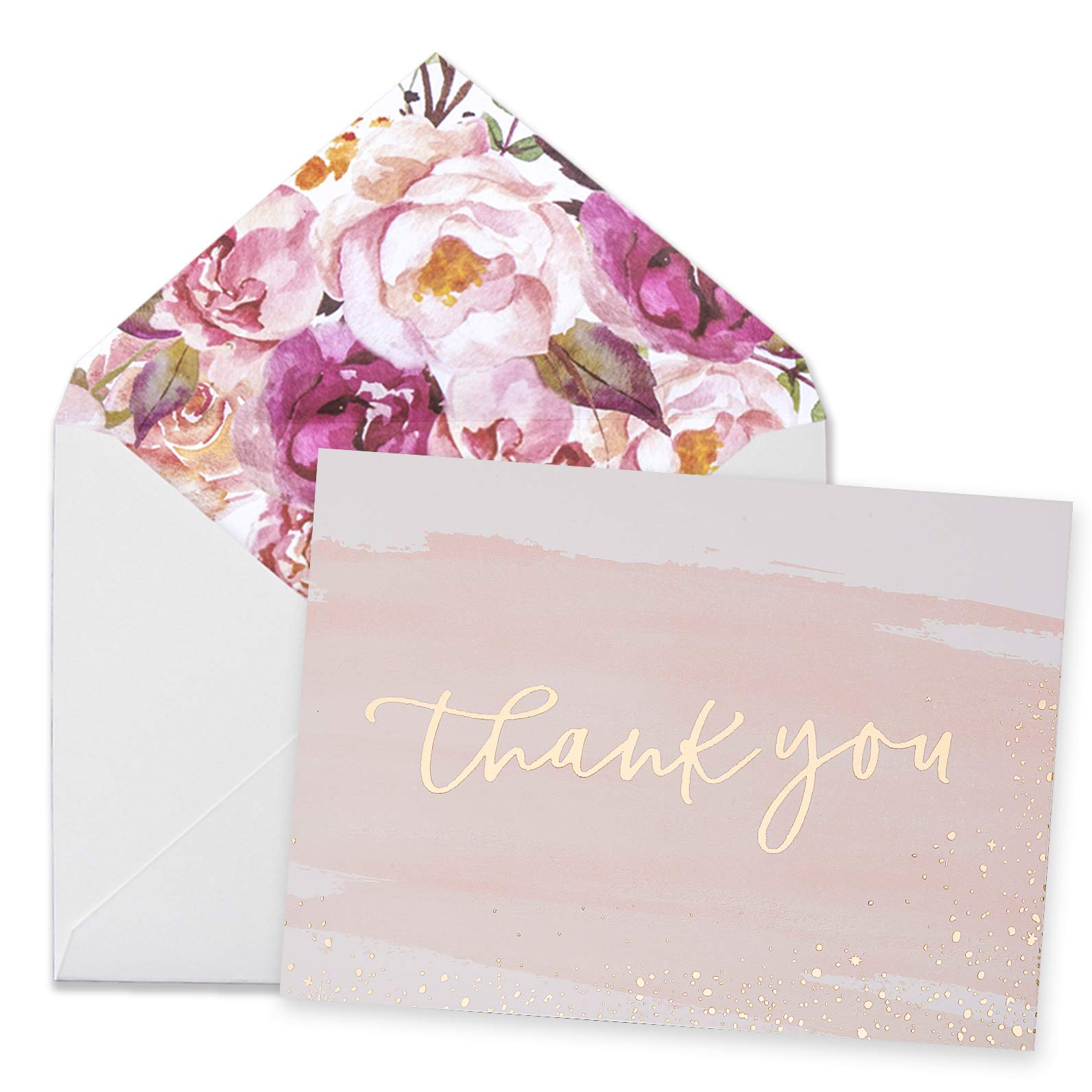 Thank You Cards-48 Bulk Blank Gold Foil&Watercolor Bulk Box Set with Elegant Floral Envelopes &Stickers for Wedding, Baby Shower, Bridal Shower, Business, Anniversary, Funeral -4'' x 6'' by Scheful