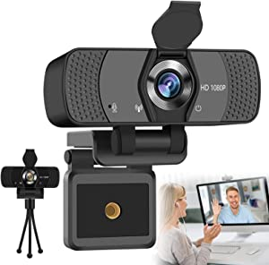 SFABF Webcam with Microphone,1080P HD Streaming USB Webcam with Privacy Cover & Tripod for Desktop/Computer, Video Webcam Camera with 110-Degree Wide Angle for RecordingStreaming Conference Gaming
