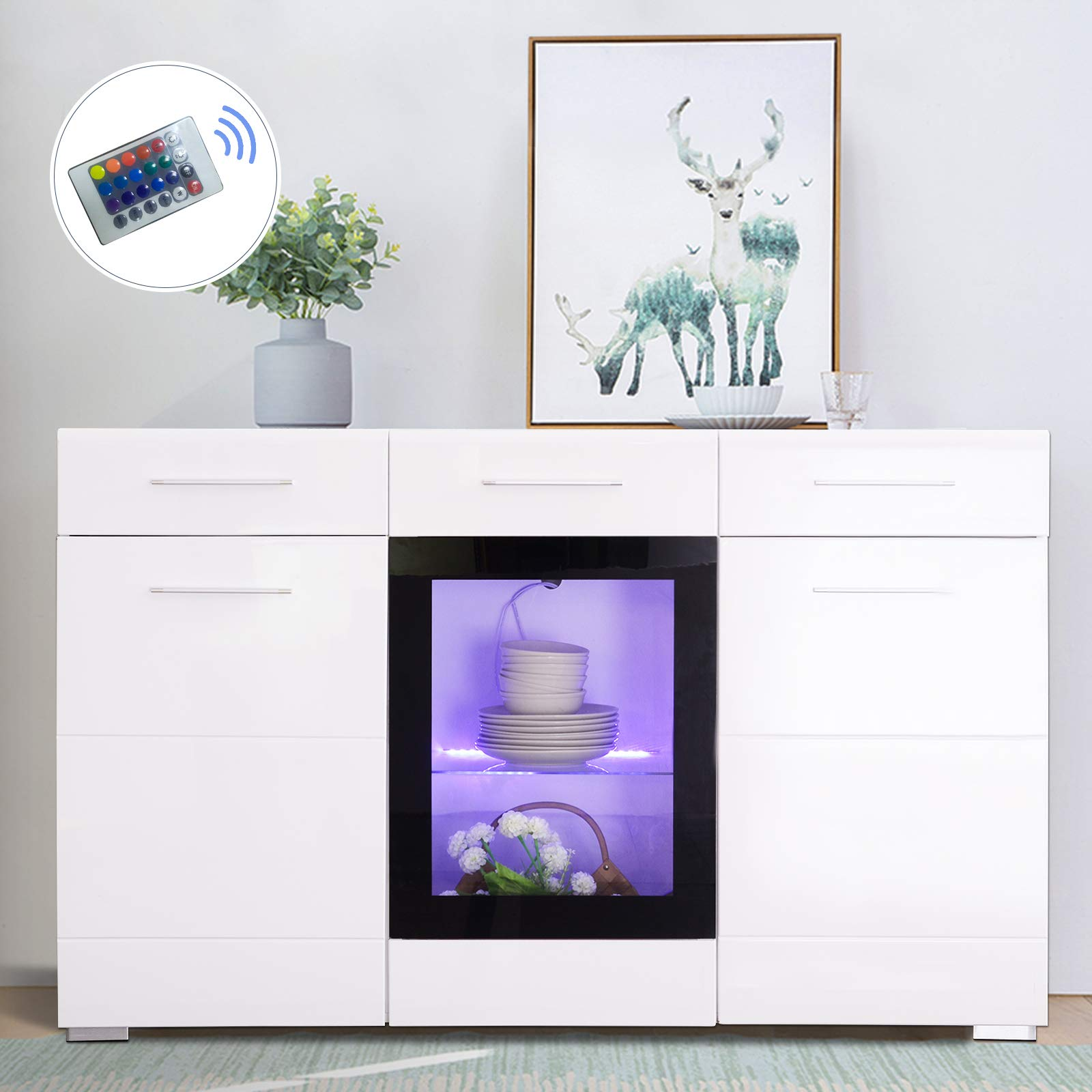 Mecor Sideboard Cabinet Buffet,Kitchen Sideboard and Storage Cabinet/TV Stand High Gloss LED Dining Room Server Console Table Storage with 3 Door/2 Drawers,White