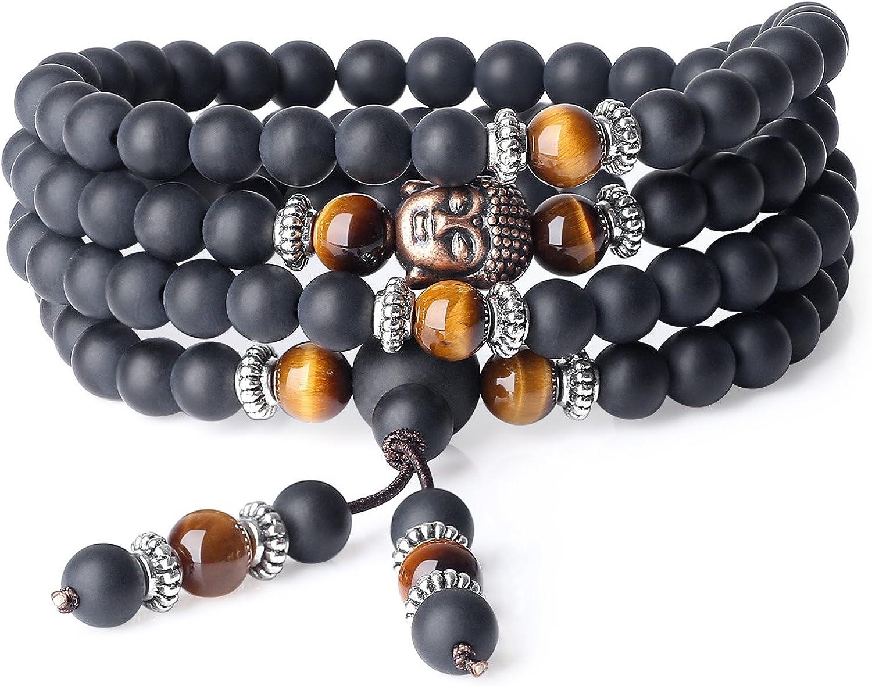 COAI® Pulsera Collar de 108 Cuentas Mala Piedra Natural Ónice Mate y Ojo de Tigre Marrón Budista 6mm